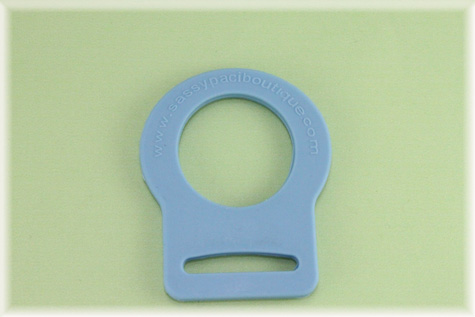 Baby Blue Button Pacifier Adapter/Ring