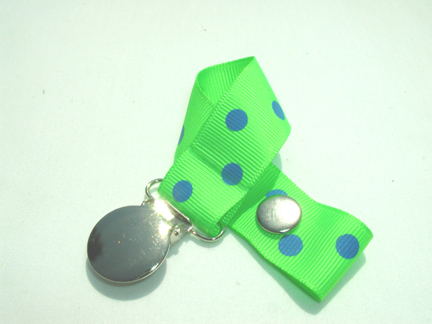 Acid Green w/ Blue Polka Dots Pacifier Holder-Acid Green w/ Blue Polka Dots Pacifier Holder