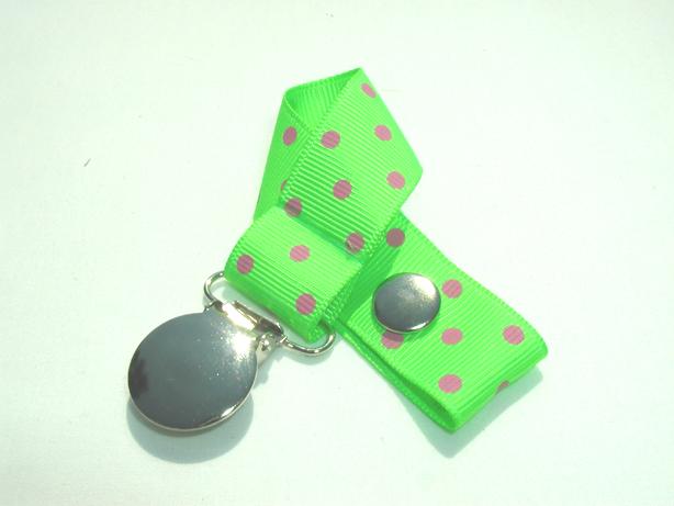Acid Green w/ Pink Swiss Dots Pacifier Holder-Acid Green w/ Pink Swiss Dots Pacifier Holder