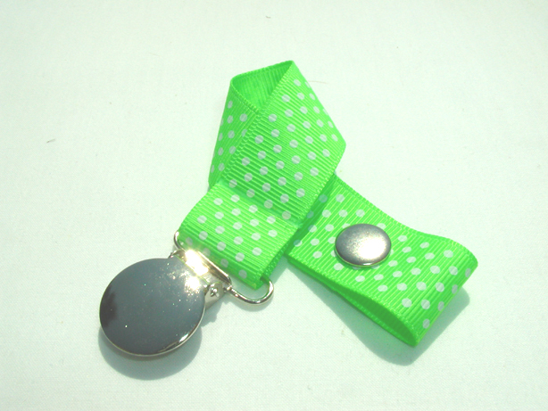 Acid Green w/ White Mini Dots Pacifier Holder-Acid Green w/ White Mini Dots Pacifier Holder