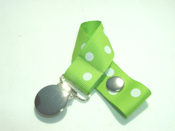 Apple Green w/ White Polka Dots Pacifier Holder-Apple Green w/ White Polka Dots Pacifier Holder