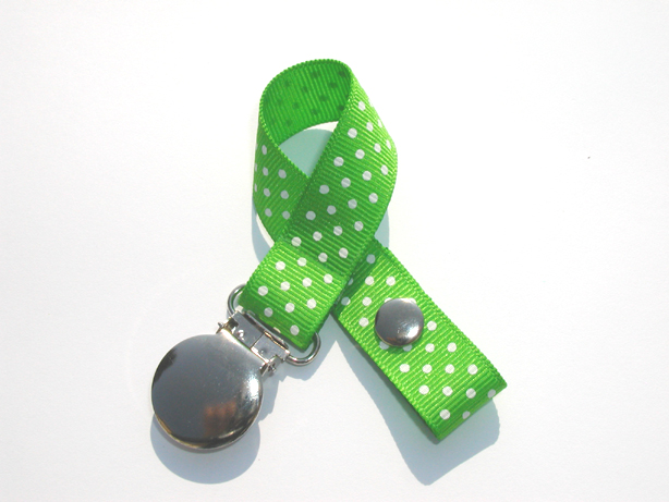 Dark Apple w/ White Mini Swiss Dots Small Pacifier Holder-Dark Apple w/ White Mini Swiss Dots Small Pacifier Holder