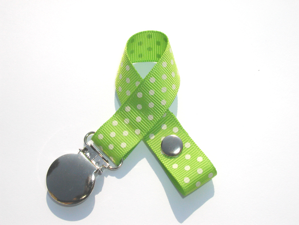 Apple Green w/ White Mini Swiss Dots Small Pacifier Holder-Apple Green w/ White Mini Swiss Dots Small Pacifier Holder