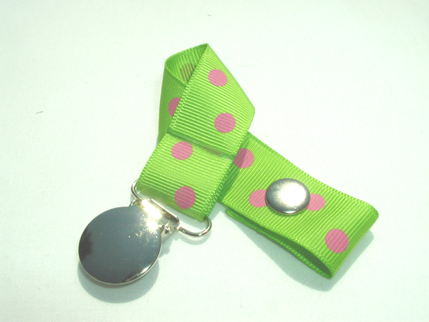 Apple Green w/ Pink Polka Dots Pacifier Holder-Apple Green w/ Pink Polka Dots Pacifier Holder