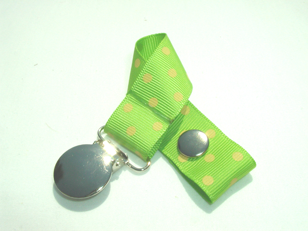 Apple Green w/  Yellow Swiss Dots Pacifier Holder-Apple Green w/  Yellow Swiss Dots Pacifier Holder