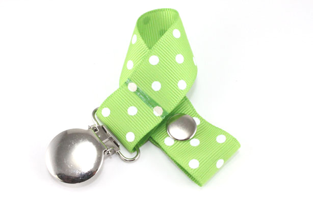 Apple Green w/ White Swiss Dots Pacifier Holder-Apple Green w/ White Swiss Dots Pacifier Holder