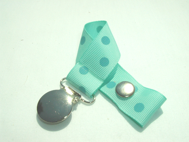 Aqua w/ Aqua Polka Dots Pacifier Holder-Aqua w/ Aqua Polka Dots Pacifier Holder