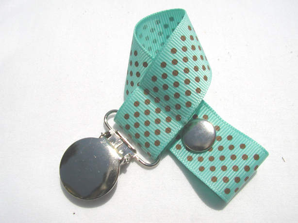 Aqua w/ Brown Mini Dots Pacifier Holder-Aqua w/ Brown Mini Dots Pacifier Holder