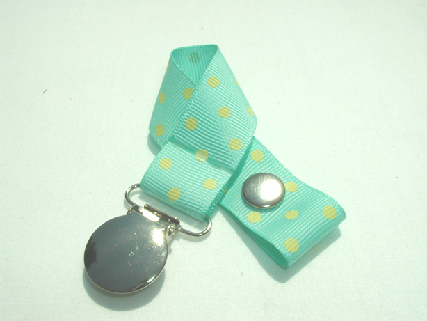Aqua w/ Yellow Swiss Dots Pacifier Holder-Aqua w/ Yellow Swiss Dots Pacifier Holder