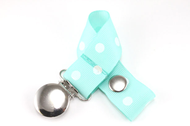 Aqua w/ White Polka Dots Pacifier Holder-Aqua w/ White Polka Dots Pacifier Holder
