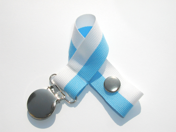Baby Blue/White Bi-Stripe Pacifier Holder-Baby Blue/White Bi-Stripe Pacifier Holder
