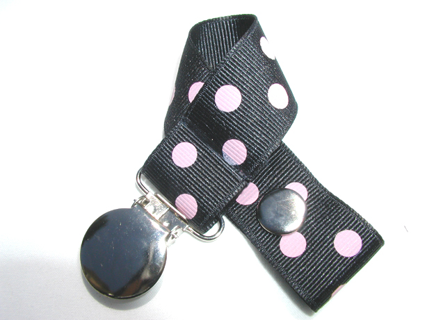 Black  w/ Pink Polka Dots Pacifier Holder-Black  w/ Pink Polka Dots Pacifier Holder