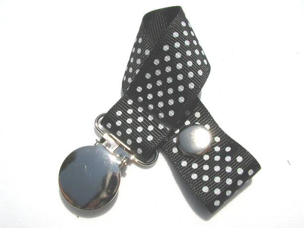 Black w/ White Mini Dots Pacifier Holder-Black w/ White Mini Dots Pacifier Holder