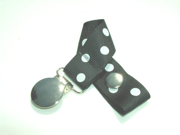 Black w/ White Polka Dots Pacifier Holder-Black w/ White Polka Dots Pacifier Holder