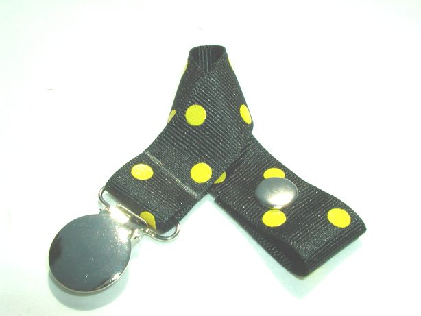 Black w/ Yellow Polka Dots Pacifier Holder-Black w/ Yellow Polka Dots Pacifier Holder