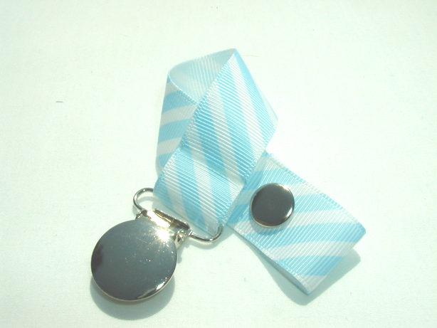 Blue Pastel Stripes Pacifier Holder-Blue Pastel Stripes Pacifier Holder