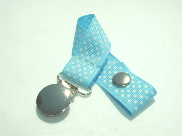 Blue Mist w/ White Mini Dots Pacifier Holder-Blue Mist w/ White Mini Dots Pacifier Holder