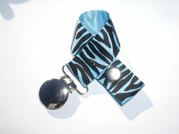 Zebra Blue Mist Pacifier Holder-Zebra Blue Mist Pacifier Holder