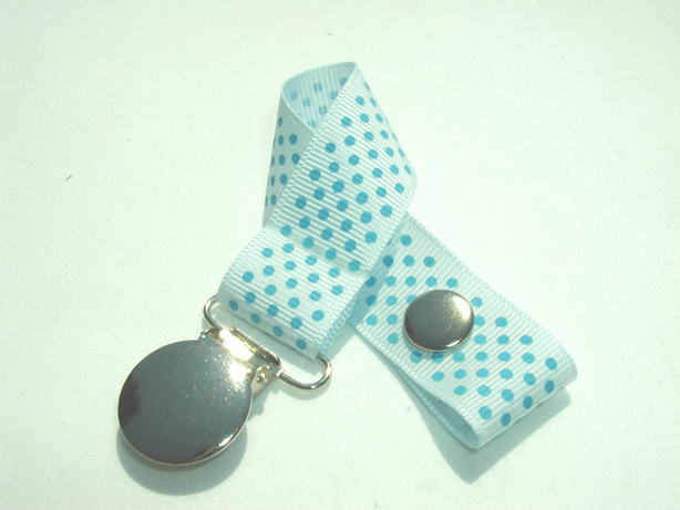 Blue Vapor w/ Blue MIni Dots Pacifier Holder-Blue Vapor w/ Blue MIni Dots Pacifier Holder