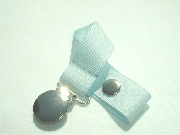 Blue Vapor w/ White Mini Dots Pacifier Holder-Blue Vapor w/ White Mini Dots Pacifier Holder