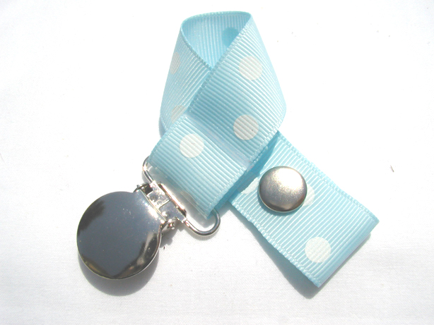 Lt. Blue w/ White Polka Dots Pacifier Holder-Lt. Blue w/ White Polka Dots Pacifier Holder