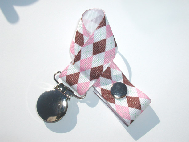 Brown Pink Argyle Pacifier Holder-Brown Pink Argyle  Pacifier Holder