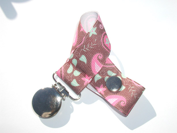 Brown Pink Paisley Pacifier Holder-Brown Pink Paisley Pacifier Holder