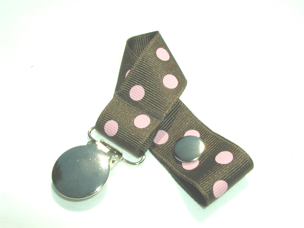 Brown w/ Pink Polka Dots Pacifier Holder-Brown w/ Pink Polka Dots Pacifier Holder