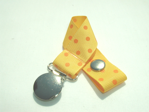 Yellow Gold w/ Orange Swiss Dots Pacifier Holder-Yellow Gold w/ Orange Swiss Dots Pacifier Holder