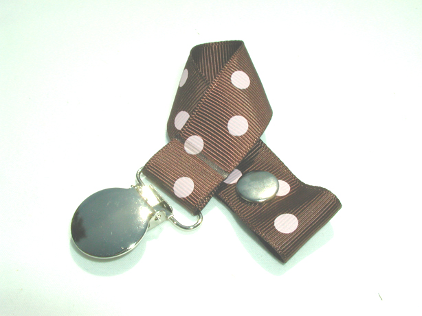 Cappuccino w/ Pink Polka Dots Pacifier Holder-Cappuccino w/ Pink Polka Dots Pacifier Holder