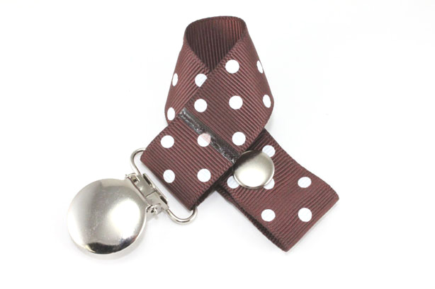 Cappuccino w/ White Swiss Dots Pacifier Holder-Cappuccino w/ White Swiss Dots Pacifier Holder