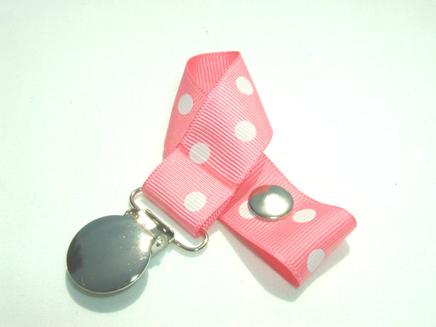 Coral Rose w/ White Polka Dots Pacifier Holder-Coral Rose w/ White Polka Dots Pacifier Holder
