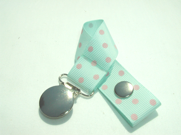Crystaline w/ Pink Swiss Dots Pacifier Holder-Crystaline w/ Pink Swiss Dots Pacifier Holder