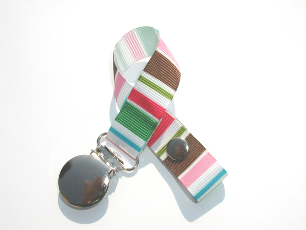 Cute Stripes Pacifier Holder-Cute Stripes Pacifier Holder