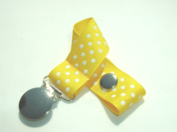 Daffodil w/ White Swiss Dots Pacifier Holder-Daffodil w/ White Swiss Dots Pacifier Holder