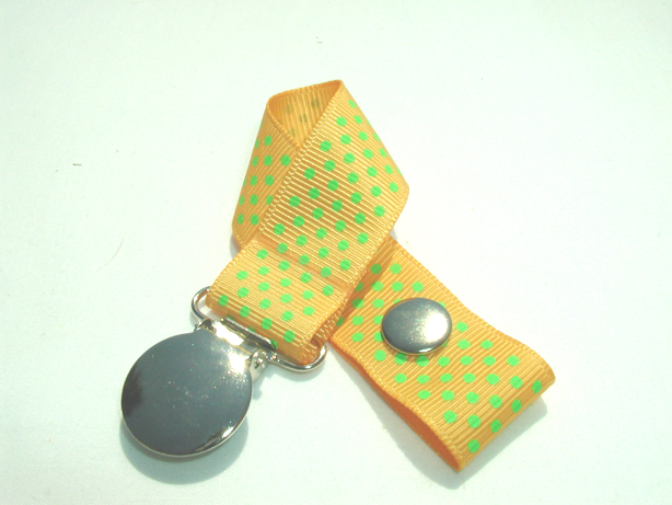 Gold w/ Green Mini Dots Pacifier Holder-Gold w/ Green Mini Dots Pacifier Holder