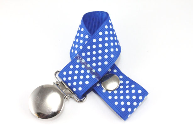 Electric Blue w/ White Mini Dots Pacifier Holder-Electric Blue w/ White Mini Dots Pacifier Holder