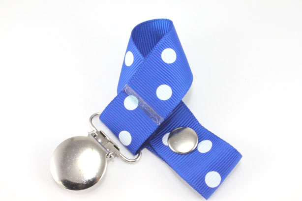 Electric Blue w/ White Polka Dots Pacifier Holder-Electric Blue w/ White Polka Dots Pacifier Holder
