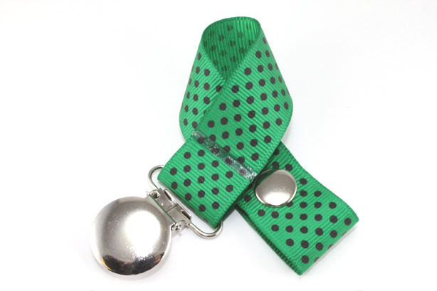 Emerald Green w/ Navy Mini Dots Pacifier Holder-Emerald Green w/ Navy Mini Dots Pacifier Holder