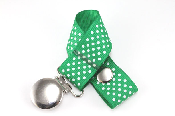 Emerald Green w/ White Mini Dots Pacifier Holder-Emerald Green w/ White Mini Dots Pacifier Holder
