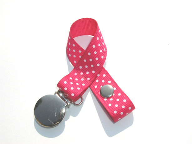 Fuchsia w/ White Mini Swiss Dots Small Pacifier Holder-Fuchsia w/ White  Mini Swiss Dots Small Pacifier Holder