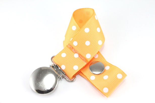 Gold w/ White Swiss Dots Pacifier Holder-Gold w/ White Swiss Dots Pacifier Holder