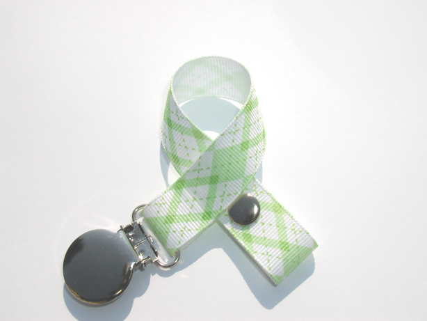Green Argyle Pacifier Holder-Green Argyle Pacifier Holder