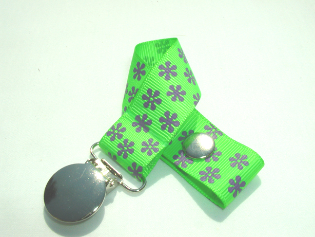 Green Flowers Pacifier Holder-Green Flowers Pacifier Holder