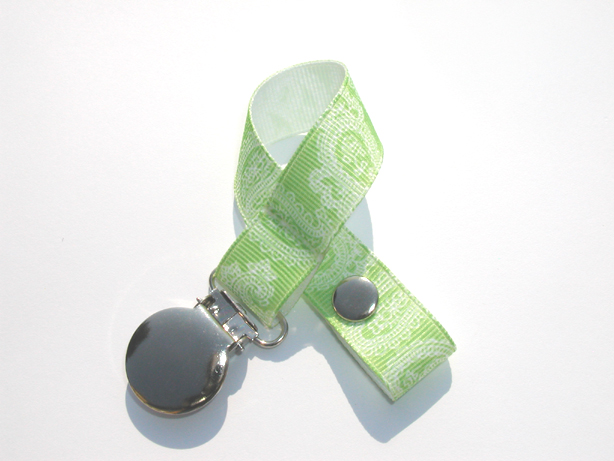 Green Paisley Pacifier Holder-Green Paisley Pacifier Holder