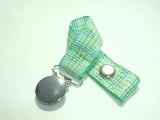 Green Plaid Pacifier Holder-Green Plaid Pacifier Holder