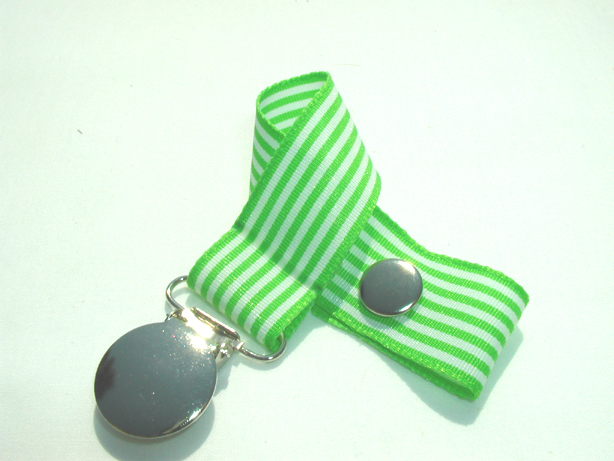 Green Stripes Pacifier Holder-Green Stripes Pacifier Holder