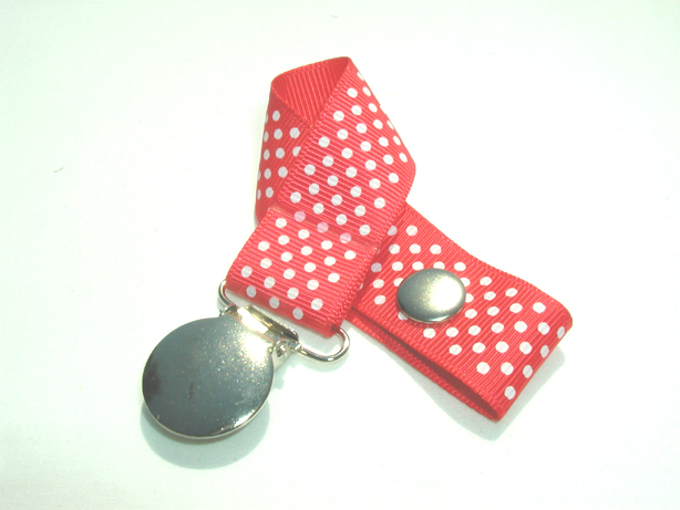 Hot Red w/ White Mini Dots Pacifier Holder-Hot Red w/ White Mini Dots Pacifier Holder