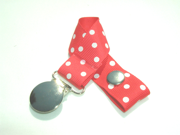 Hot Red w/ White Swiss Dots Pacifier Holder-Hot Red w/ White Swiss Dots Pacifier Holder