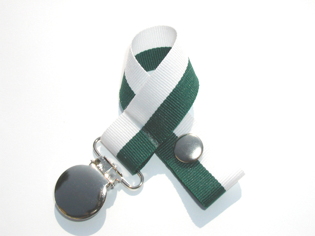 Hunter/White Bi-Stripe Pacifier Holder-Hunter/White Bi-Stripe Pacifier Holder